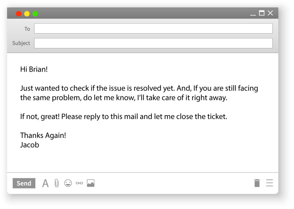 Customer Support Email Template